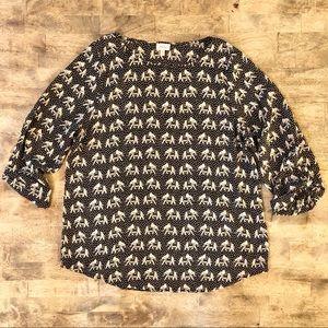 Pixley Elephant Print 3/4 Sleeve Blouse